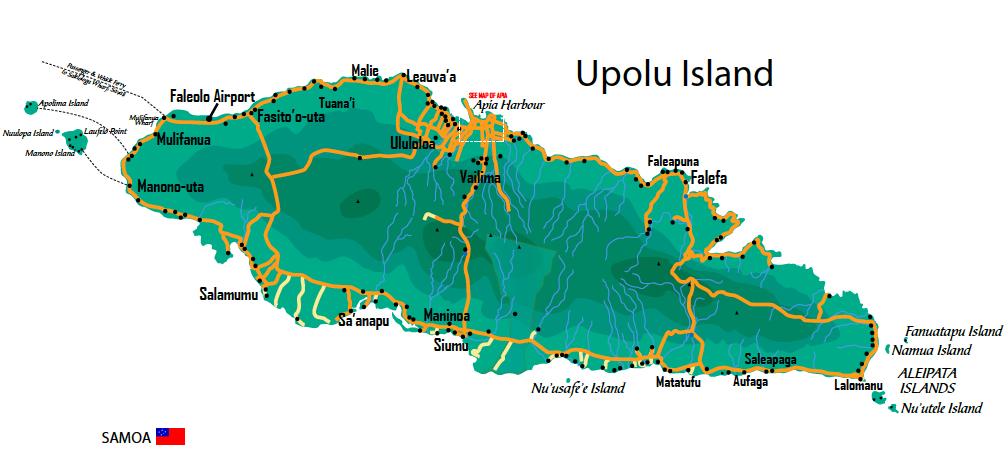 Samoa Select Map of Samoa